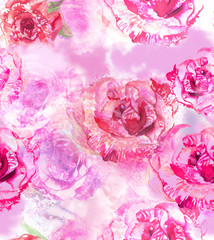 Seamless roses background pattern, watercolor and photo collage