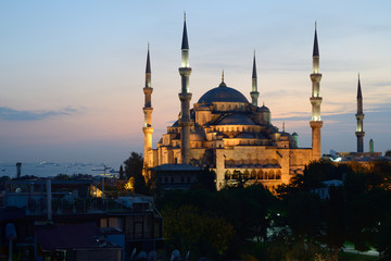 Istanbul. Illuminated Blue Mosque at twilight