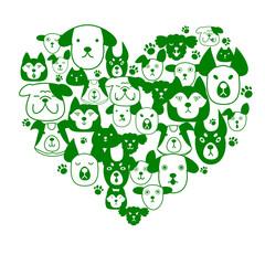 Dogs face in heart-shape