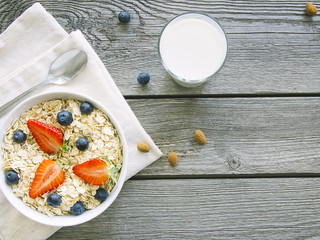 Healthy breakfast on wooden background
