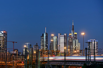 Skyline in the background from the railway station in Frankfurt
