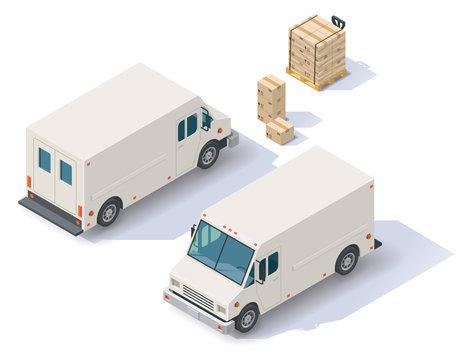 Vector isometric delivery van