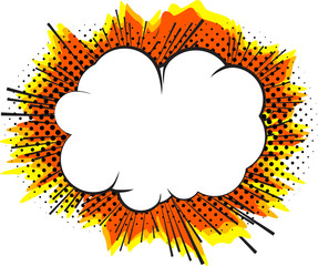Explosion, isolated retro style comic book background.