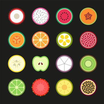 Set Fruit Tropical icon, Vector illustration