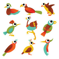 Cartoon Rainbow Birds