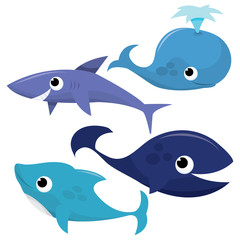 Whale, Shark And Dolphins
