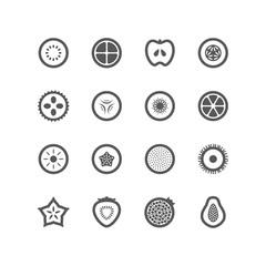 Icon Fruit Half Slide Circle, Vector Design illustration
