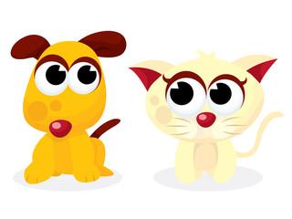 Cartoon Puppy and Kitten