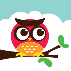 Cartoon Retro Owl