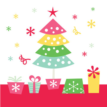 Retro Christmas Tree and Gifts
