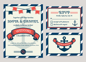 Sea wedding invitation. Vector templates.
