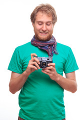 Portrait of man with classic camera