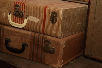 Antique Suitcases In A Pile