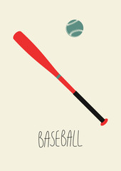 Baseball vintage style poster. Retro vector illustration.