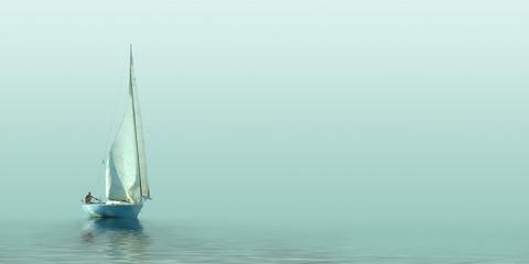 Sailboat sailing in the fog.
