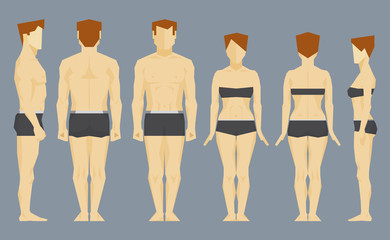 Man and woman bodies. Front, profile and back