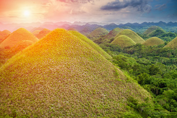 Tuinposter Heuvel Beautiful Chocolate Hills in Bohol, Philippines
