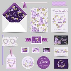 Set of Wedding Stationary - Invitation Card, Save the Date, RSVP