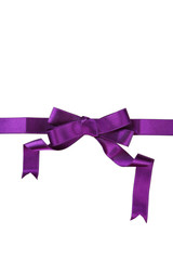 Purple ribbon with bow on white background