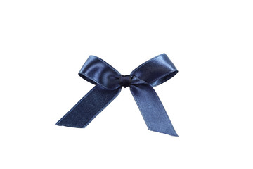 Blue bow on white background