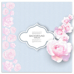 Marriage invitation card with place for text and pink flowers