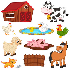 set of isolated farm animals - vector illustration, eps