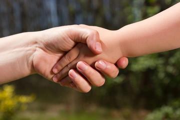Kind- Erwachsener Händedücken