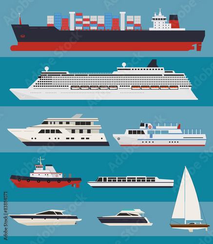 Vector Water Transport Cargo Ships Cruise Ships Tug Boats - Cargo cruise ship
