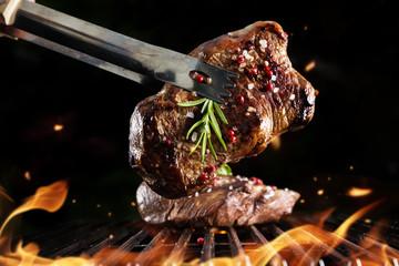 Beef steak on grill