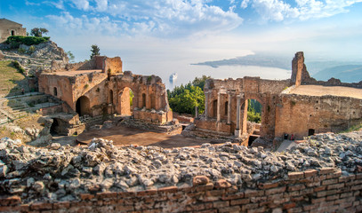 Théâtre grec de Taormina, Sicile Fototapete