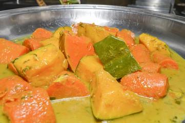 Sauteed vegetables at an oriental restaurant buffet