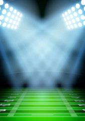 Background for posters night football stadium in the spotlight