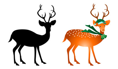 Christmas deer and deer silhouettes isolated on white background