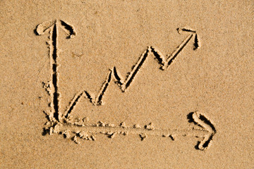Line chart drawn in sand