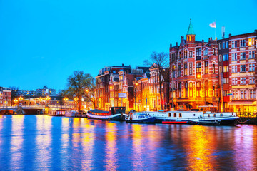 Canvas Prints Amsterdam Night city view of Amsterdam