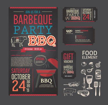 Barbecue party BBQ template menu design set. name card, gift vou