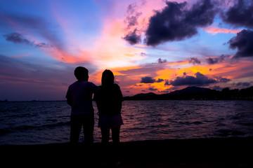 Happy Couple on Sunset Beach
