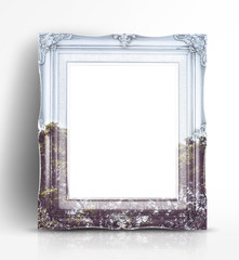 Double exposure of Vintage photo frame and tree landscape view i