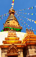 Stupa and prayer flags in Swayambhunath, Kathmandu, Nepal