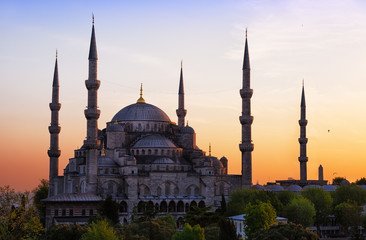 Sultan Ahmed Mosque (Blue Mosque) in Istanbul on a sunset