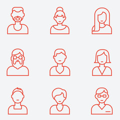 People icons, thin line style, flat design