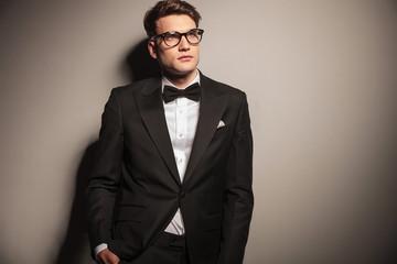 handsome elegant business man looking up.