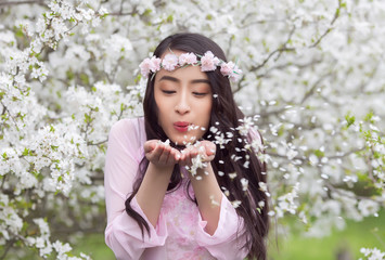 Girl in Pink Ao Dai blowing white cherry petals from her palms