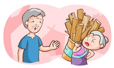 elderly couples argue each other vector