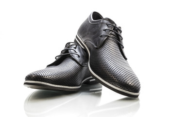 Summer leather classic shoes for men on a white background