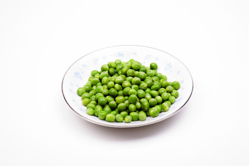 A Plate of Peas on White Background