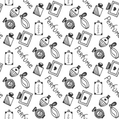 Perfume seamless pattern. Doodle sketch of perfume bottles on white background