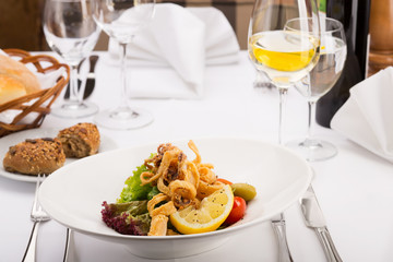 Seafood - Fried Calamari in restaurant