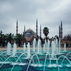 Blue Mosque in Istanbul, Turkey with fountain at the foreground