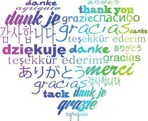 Thank you tagcloud - heart shape words